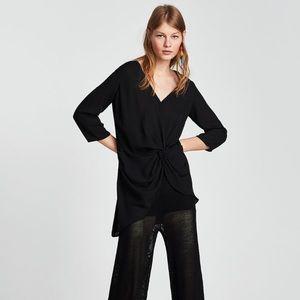 NWT Zara Asymmetric Knotted Blouse